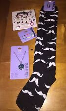 Claire's Earring Jewelry Mood Necklace Rings Mustache Knee Sock Lot Nwt