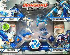 Monsuno core-tech 4 X Pack De Bloqueo, Cargador, Glowblade & Quickforce