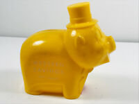 Vintage Banthrico Happy Pig Piggy Coin Savings Bank Yellow Plastic