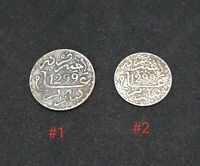 Rare Morocco Maroc Set Of 2 Silver Coins 1, 1/2 Dirham Moulay Hassan I 1299AH