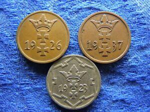 POLAND DANZIG 1 PFENNIG 1926, 1937 KM140, 5 PFENNIG 1923 KM142