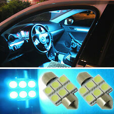"2PCS Aqua Blue 1.25"" 31mm 6-SMD DE3175 DE3022 LED Bulbs For Car Interior light S"