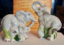 Fitz And Floyd CAPE TOWN Ceramic Elephant Family Salt & Pepper Shakers