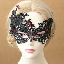 Handmade Red Stone Lace Face Eye Mask Fancy Dress Party Gothic Hair Bobby Pins