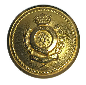 """Brooks Brothers Double BB Crown 1818 Metal Sleeve Pocket Replacement Button .60"""""""