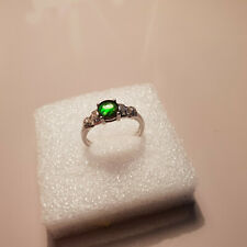 AA Canadian Ammolite & White Topaz ring in Platinum over Sterling silver T