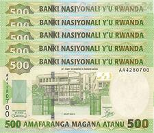 5x Rwanda 500 Francs 2004 Unc pn 30a