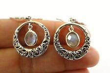 Ornate Circle Rainbow Moonstone Dangle Drop 925 Sterling Silver Earrings