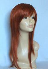 Perruque ROUSSE cuivrée cheveux long frange synthétique top qualité + filet