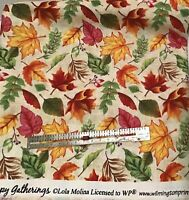 Wilmington Happy Gatherings Autumn Leaves Cotton Fabric By the HALF Yard