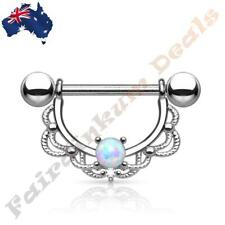 16G Surgical Steel Silver Ion Plated Opal Centred Filigree Drop Nipple Ring Bar