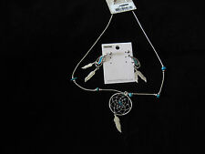 Silver and Turquoise Necklace Earrings Set Fashion Jewelry NEW South Western