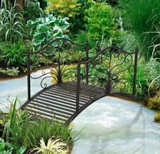 Scroll Metal Garden Bridge 4 Foot Decorative Landscape Pond Creek Patio Walkway