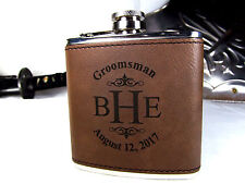 Personalized Engraved Brown Leather Flask Custom Groomsmen Gifts Monogram