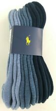 6 Pairs Pack Polo Ralph Lauren No Show Stretch Sport Socks Shades of Blue Men