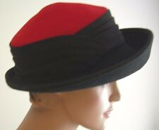 Vintage Women's Wool Rolled Brim Hat Black/Red