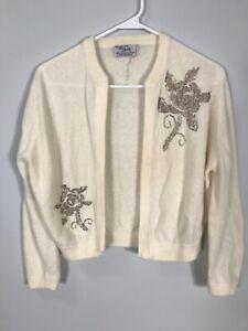 vintage union cashmere cardigan Women's Cream Beaded Small