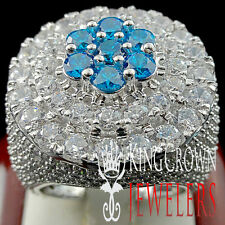 MENS REAL WHITE GOLD SILVER BIG BLUE TOPAZ LAB DIAMOND HUGE JUMBO XXL RING BAND