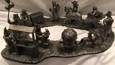 "Michael Ricker Pewter ""Backyard Circus Scene"" Complete w/Base and Certificates"