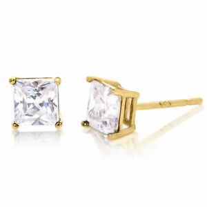 Gold Plated Mens / Womens Stud Earrings 925 Sterling Silver 5mm Cubic Zirconia