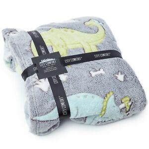 CityComfort Glow In The Dark Dinosaur Fleece Blankets For Boys Girls and Toddler