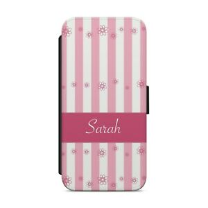 Personalised Name Floral Flower Pink WALLET FLIP PHONE CASE COVER           z133