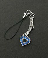 Cell Phone Charm Strap Mothers Day Gifts Blue Crystal Heart Free Shipping New