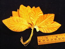 Vintage Millinery Flower Leaf Gold Metallic Fabric Bunch for Hat + Headband Gfr