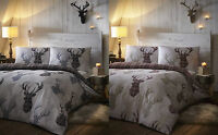 De Cama Tartan Check Stag Grey Brown Duvet Cover Bedding Set Single Double King