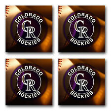 Colorado Rockies Baseball Rubber Square Coaster set (4 pack) SRC2008