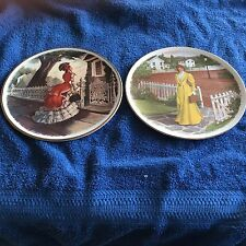 Avon Collector Plates-1977 Lady in Red Dress & 1978 Lady in a Yellow Dress