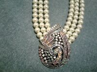 Heidi Daus Teared Tapestry Faux Light Green Pearl and Paisley Crystal Necklace