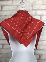 "HALLMARK Japan Vintage 26"" Square Hearts Love Acetate Red and White Scarf"