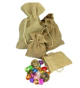 Pirate NATURAL Color Burlap Pouch Bag Acrylic Jewels & Play Coins Choose Size