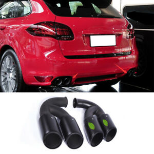 For Porsche Cayenne 2011-2014 Black Titanium Rear Tail Exhaust Muffler Tip Pipe