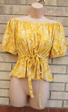 PRIMARK YELLOW WHITE PAISLEY SHORT SLEEVE BELTED PEPLUM GYPSY TOP BLOUSE 12 M