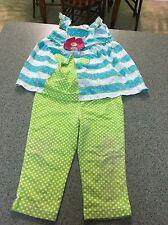 Kids Headquarters Baby Girl Sleeveless Striped Floral 2-Piece Cotton Set, 24 M