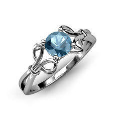 Blue Topaz Floral Solitaire Ring 1.05 ct in 14K Gold JP:34425