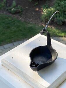 antique iron betty oil lamp 19th century