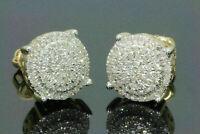 Men's Women's 14K Yellow Gold Fn 1.50 Ct D/VVS1 Diamond Cluster Stud Earrings