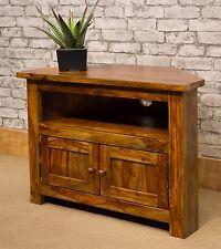 Solid Wood Indian Rosewood Sheesham Corner TV Stand Cabinet Unit - 80cm Wide