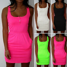 Women Sleeveless Casual Vest Mini Shirt Dress Summer Bandage Long Tops Plus Size