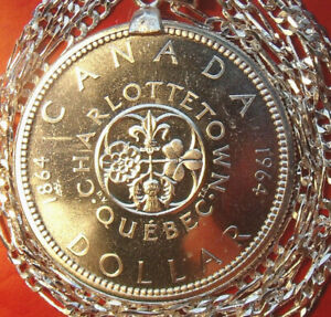 QUEBEC 1964 Canada Silver Dollar Pendant choice of chain length at checkout 36mm