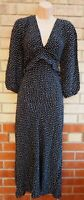 PRIMARK BLACK WHITE ABSTRACT SPOTTED PUFF LONG SLEEVE V NECK A LINE MIDI DRESS L