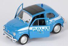 BLITZ VERSAND Fiat Nuova 500 Polizia blau / blue Welly Modell Auto 1:34 NEU OVP