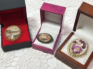 Vintage Unsigned Preserved Flowers/ Bark Brooches