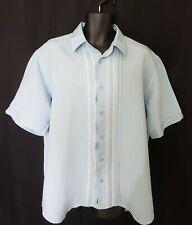 Cubavera Light Blue Short Sleeve Button Linen Blend Dress Shirt Mens Size XL