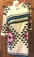 Peach Love Cream California Aztec Print Button Sleeve Dress Misses Size M NWT