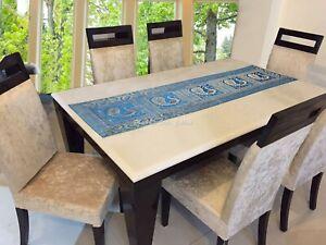 Dekorativ Tischläufer Türkis Gold 5 Fuß Brokat Pfau Rechteckig Tischplatte