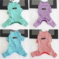 Autumn Stripe Teddy Jumpsuit Winter Dog Clothes Pajamas Sleepwear Puppy Pet Cat